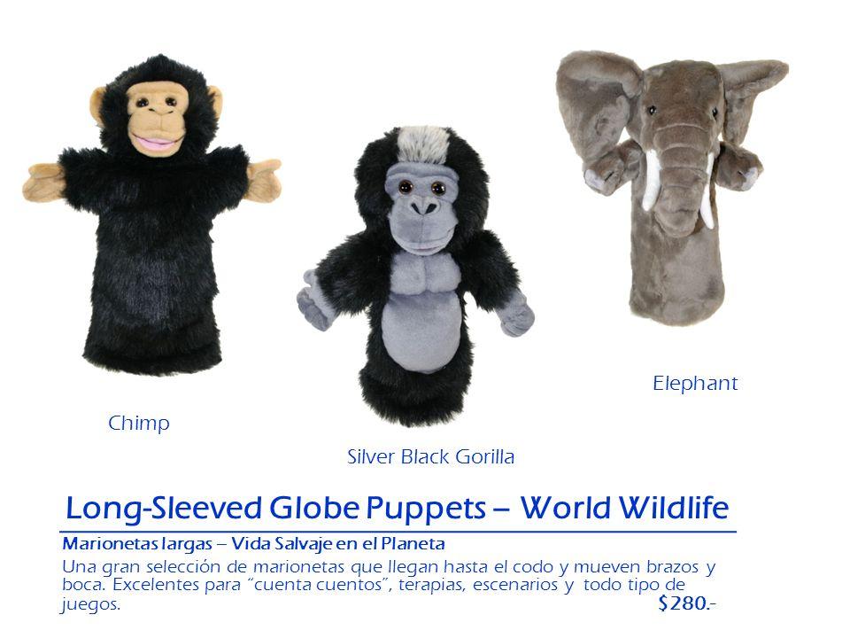 Chimp Elephant Silver Black Gorilla Long-Sleeved Globe Puppets – World Wildlife Marionetas largas – Vida Salvaje en el Planeta Una gran selección de m