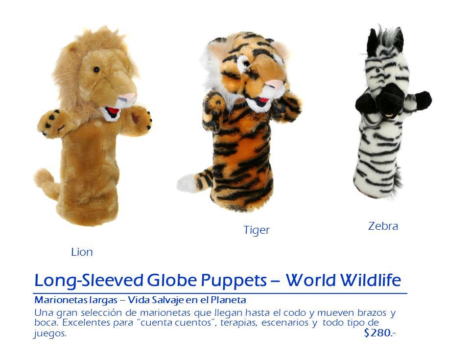 Zebra Tiger Lion Long-Sleeved Globe Puppets – World Wildlife Tiger Marionetas largas – Vida Salvaje en el Planeta Una gran selección de marionetas que