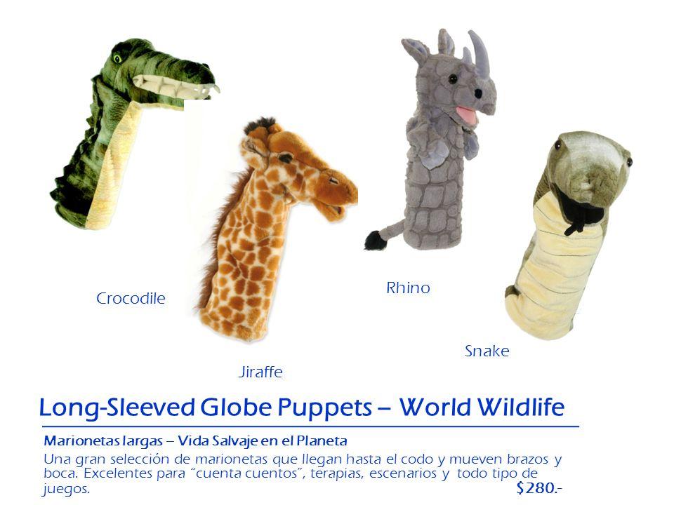 Crocodile Jiraffe Long-Sleeved Globe Puppets – World Wildlife Rhino Snake Marionetas largas – Vida Salvaje en el Planeta Una gran selección de marione