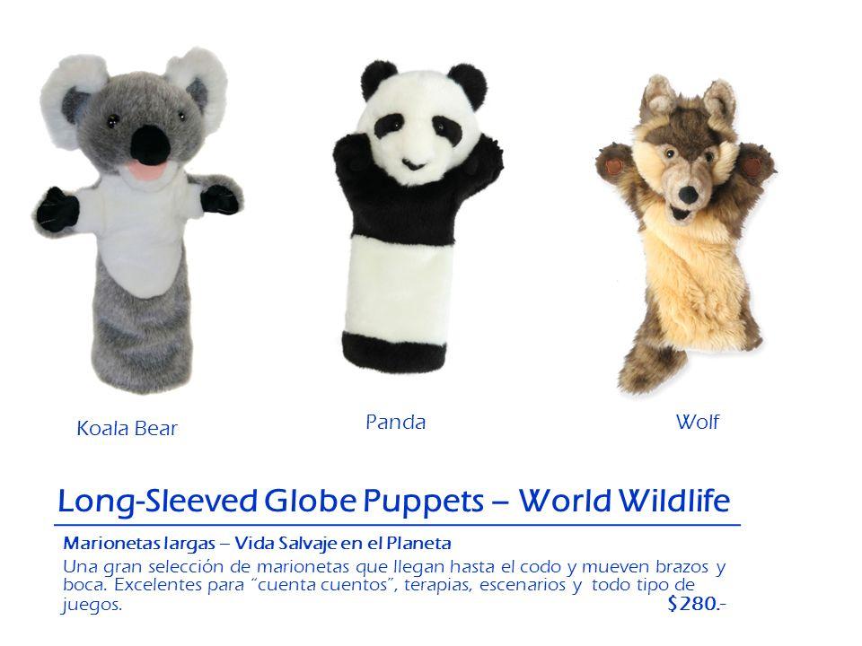 Panda Koala Bear Long-Sleeved Globe Puppets – World Wildlife Wolf Marionetas largas – Vida Salvaje en el Planeta Una gran selección de marionetas que
