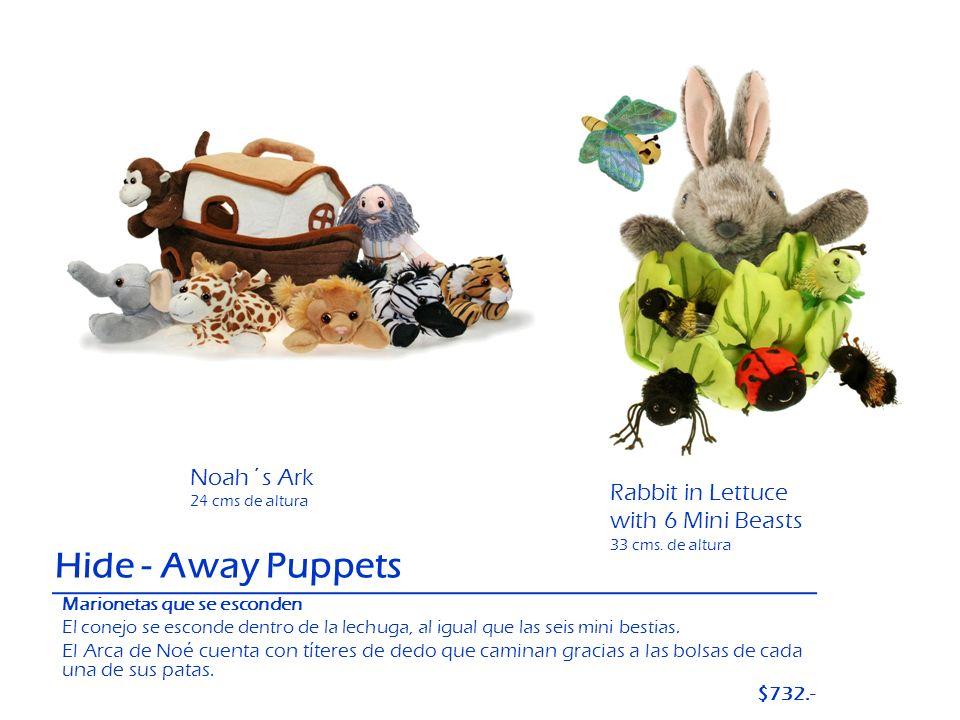 Hide - Away Puppets Noah´s Ark 24 cms de altura Rabbit in Lettuce with 6 Mini Beasts 33 cms. de altura Marionetas que se esconden El conejo se esconde