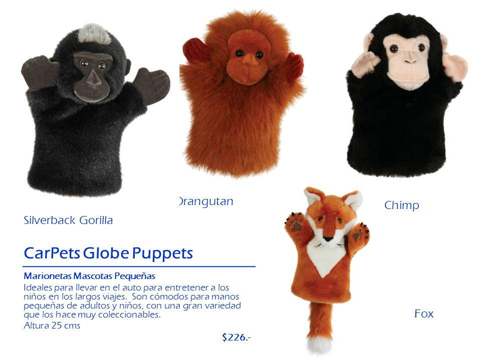 Fox Silverback Gorilla CarPets Globe Puppets Chimp Orangutan Marionetas Mascotas Pequeñas Ideales para llevar en el auto para entretener a los niños e