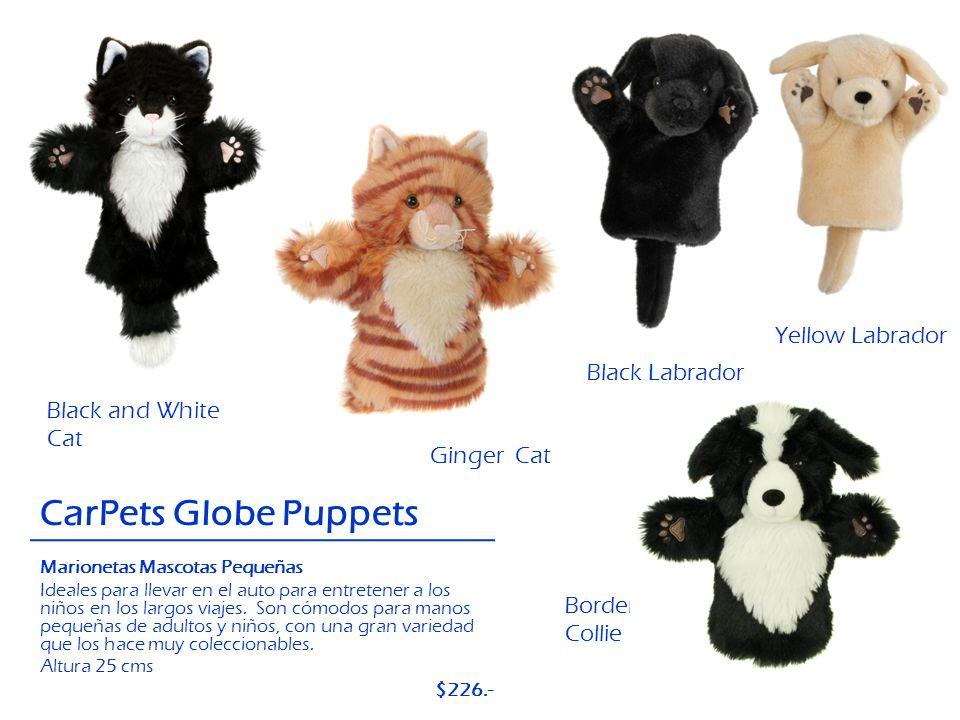 Black Labrador Black and White Cat CarPets Globe Puppets Border Collie Ginger Cat Yellow Labrador Marionetas Mascotas Pequeñas Ideales para llevar en