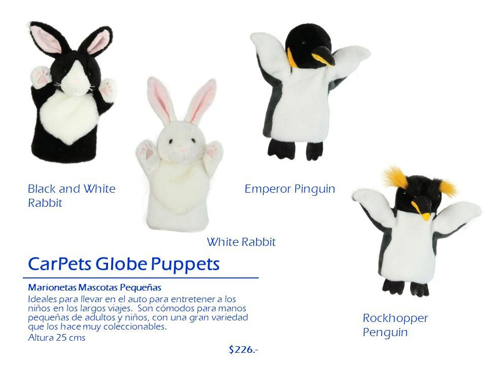 Black and White Rabbit CarPets Globe Puppets Emperor Pinguin Rockhopper Penguin White Rabbit Marionetas Mascotas Pequeñas Ideales para llevar en el au