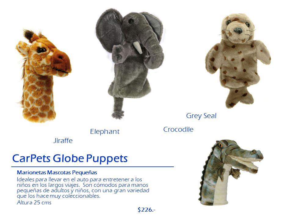 Crocodile CarPets Globe Puppets Elephant Jiraffe Grey Seal Marionetas Mascotas Pequeñas Ideales para llevar en el auto para entretener a los niños en