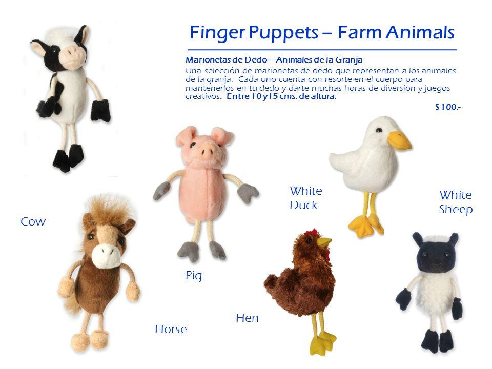 Cow Finger Puppets – Farm Animals White Duck Hen Horse White Sheep Pig Marionetas de Dedo – Animales de la Granja Una selección de marionetas de dedo
