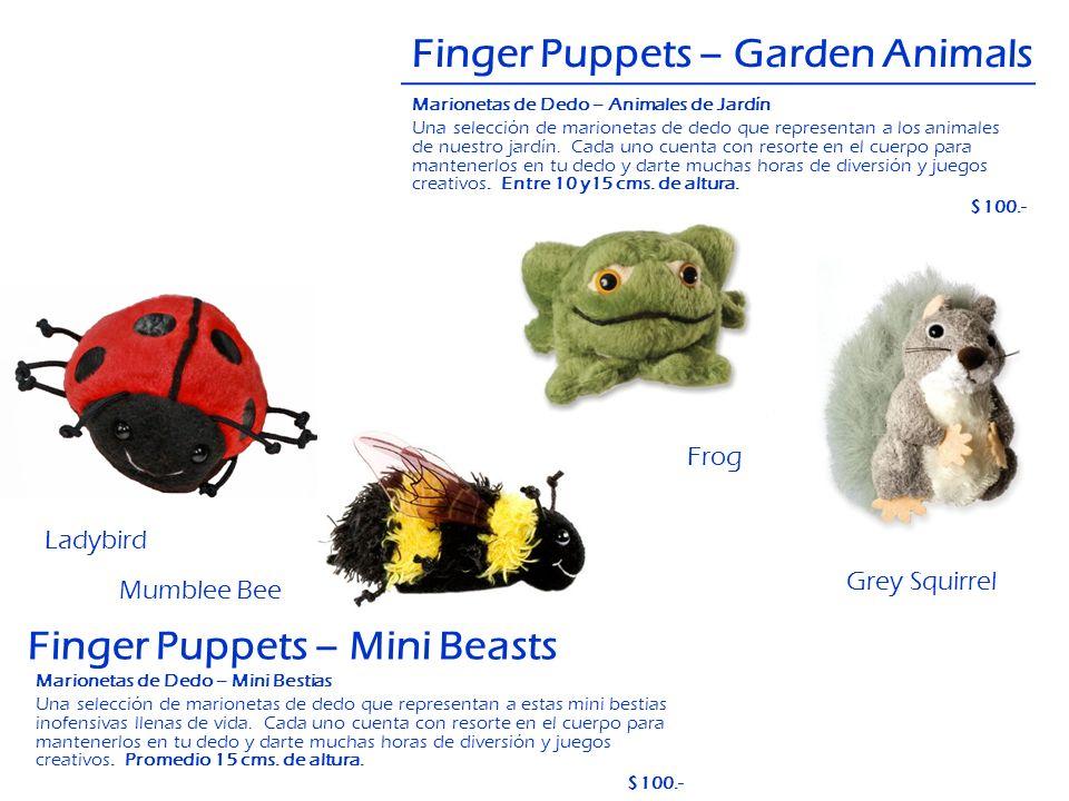 Finger Puppets – Garden Animals Frog Grey Squirrel Finger Puppets – Mini Beasts Ladybird Mumblee Bee Marionetas de Dedo – Animales de Jardín Una selec