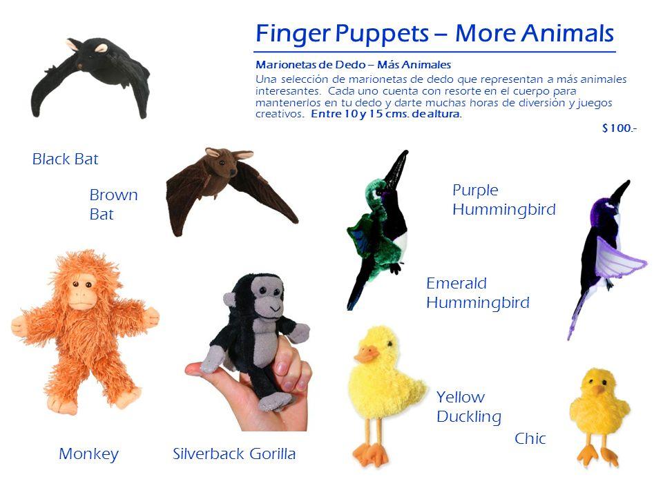 Black Bat Finger Puppets – More Animals Brown Bat Chic Monkey Emerald Hummingbird Yellow Duckling Silverback Gorilla Marionetas de Dedo – Más Animales