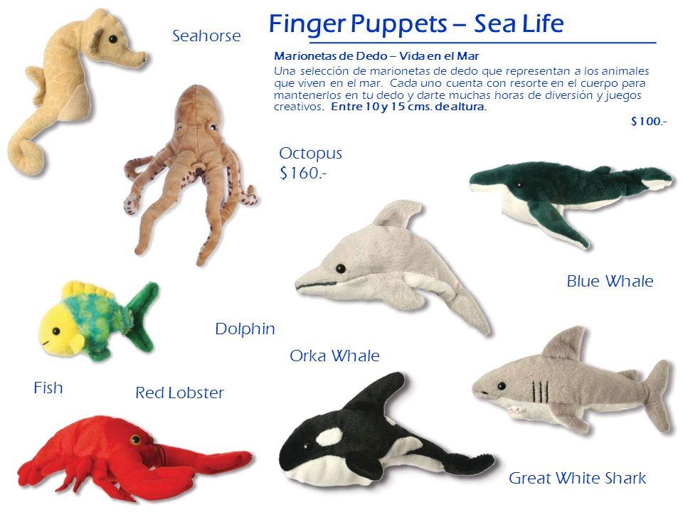 Blue Whale Finger Puppets – Sea Life Dolphin Great White Shark Octopus $160.- Fish Orka Whale Red Lobster Seahorse Marionetas de Dedo – Vida en el Mar