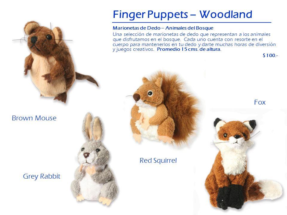 Finger Puppets – Woodland Red Squirrel Brown Mouse Fox Grey Rabbit Marionetas de Dedo – Animales del Bosque Una selección de marionetas de dedo que re