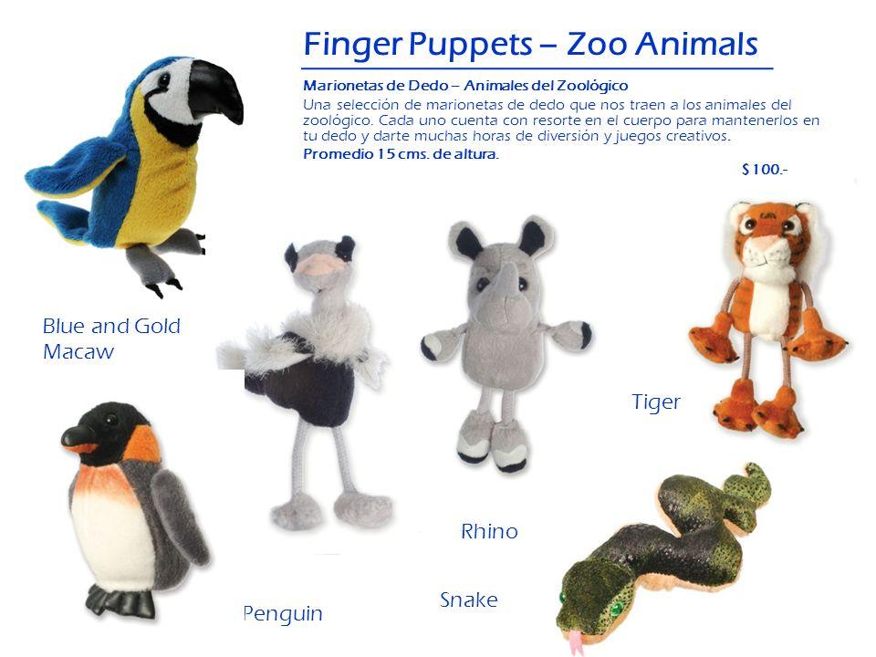 Finger Puppets – Zoo Animals OstrichBlue and Gold Macaw Penguin Rhino Snake Tiger Marionetas de Dedo – Animales del Zoológico Una selección de marione