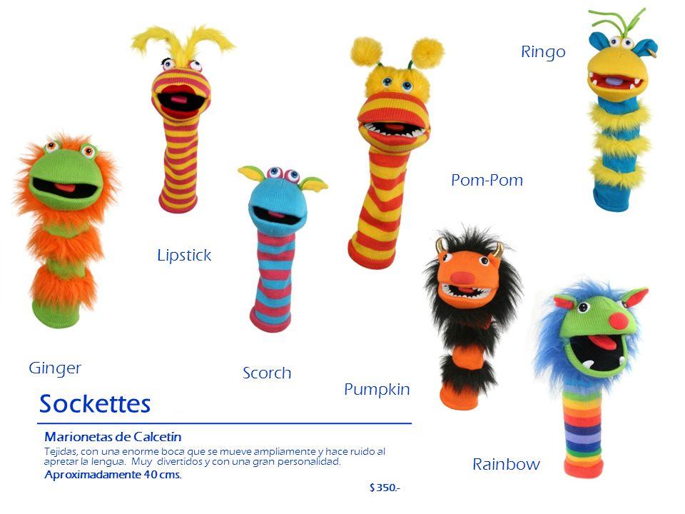 Ginger Sockettes Marionetas de Calcetín Tejidas, con una enorme boca que se mueve ampliamente y hace ruido al apretar la lengua. Muy divertidos y con