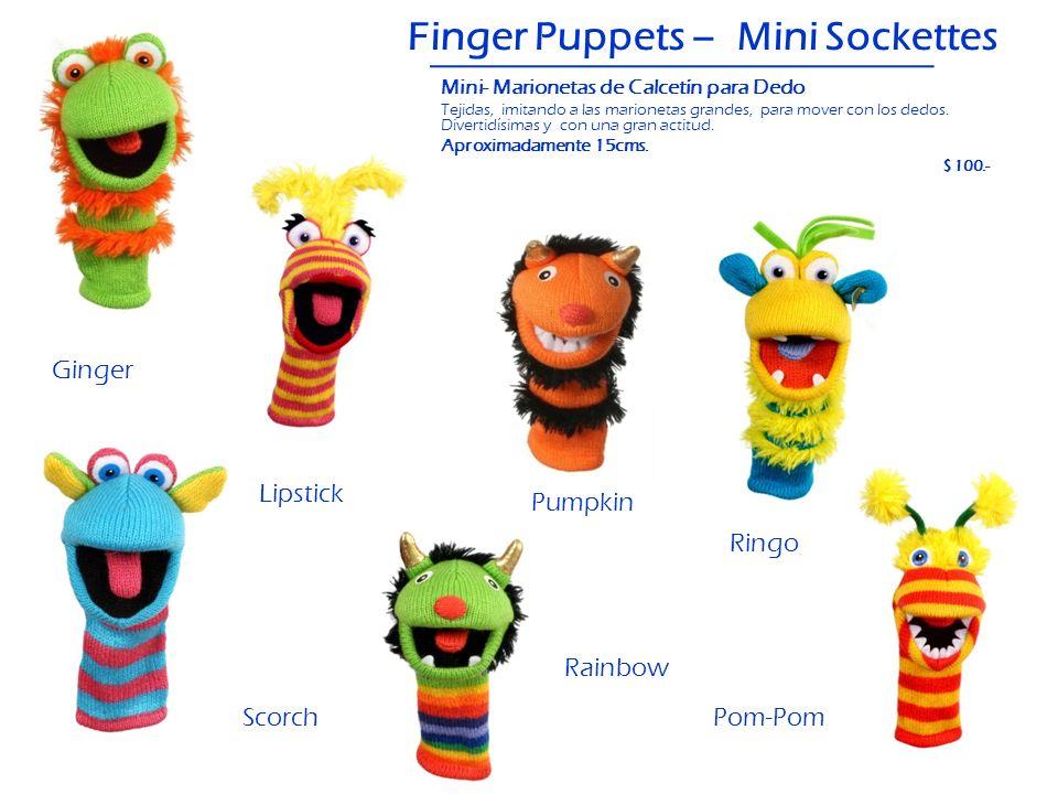 Finger Puppets – Mini Sockettes Scorch Ginger Lipstick Pumpkin Pom-Pom Ringo Rainbow Mini- Marionetas de Calcetín para Dedo Tejidas, imitando a las ma