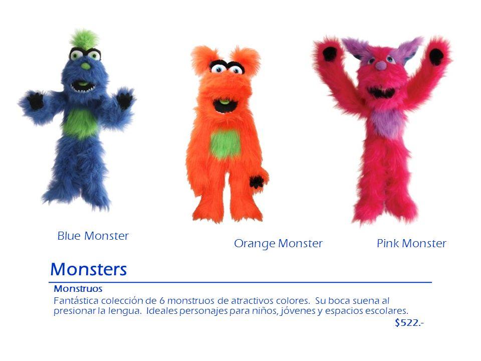 Monsters Monstruos Fantástica colección de 6 monstruos de atractivos colores. Su boca suena al presionar la lengua. Ideales personajes para niños, jóv