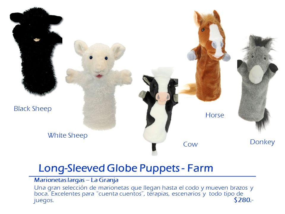 Long-Sleeved Globe Puppets - Farm Black Sheep White Sheep Cow Donkey Horse Marionetas largas – La Granja Una gran selección de marionetas que llegan h