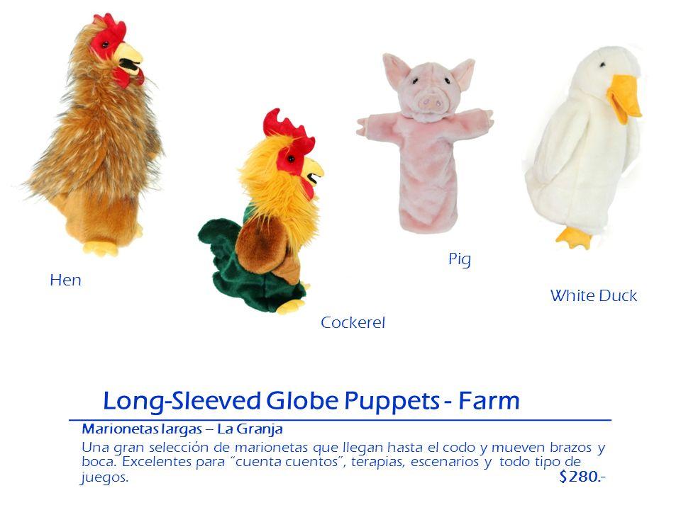 Long-Sleeved Globe Puppets - Farm Hen Pig White Duck Pig Cockerel Marionetas largas – La Granja Una gran selección de marionetas que llegan hasta el c