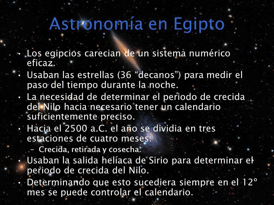 Astronomía en Egipto Los egipcios carecian de un sistema numérico eficaz. Usaban las estrellas (36 decanos) para medir el paso del tiempo durante la n
