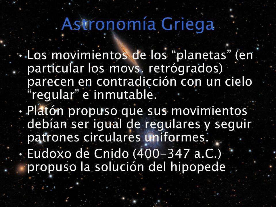 Astronomía Griega Los movimientos de los planetas (en particular los movs. retrógrados) parecen en contradicción con un cielo regular e inmutable. Pla
