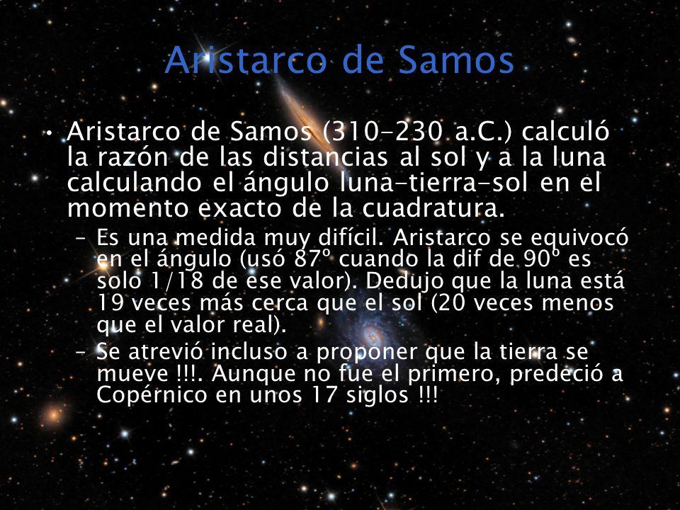 Aristarco de Samos Aristarco de Samos (310-230 a.C.) calculó la razón de las distancias al sol y a la luna calculando el ángulo luna-tierra-sol en el momento exacto de la cuadratura.