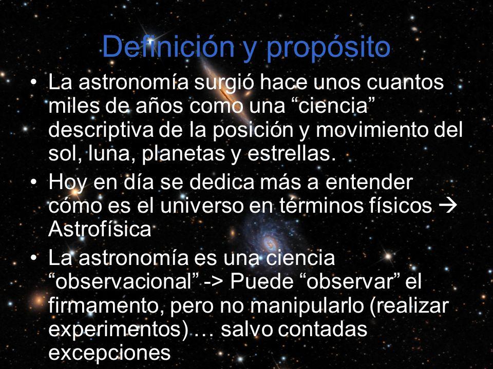 Definición y propósito La astronomía surgió hace unos cuantos miles de años como una ciencia descriptiva de la posición y movimiento del sol, luna, planetas y estrellas.