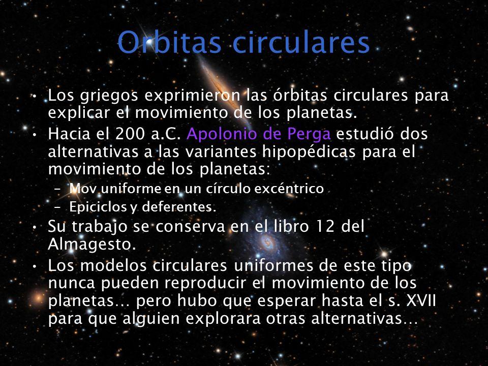 Orbitas circulares Los griegos exprimieron las órbitas circulares para explicar el movimiento de los planetas. Hacia el 200 a.C. Apolonio de Perga est