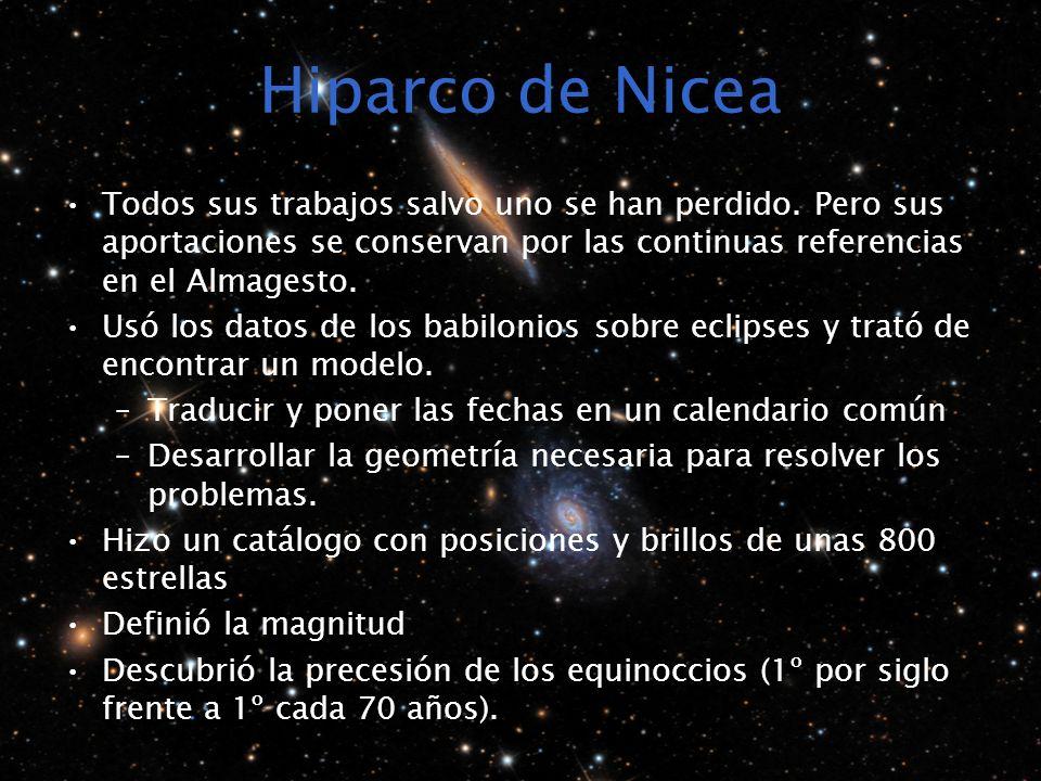 Hiparco de Nicea Todos sus trabajos salvo uno se han perdido. Pero sus aportaciones se conservan por las continuas referencias en el Almagesto. Usó lo