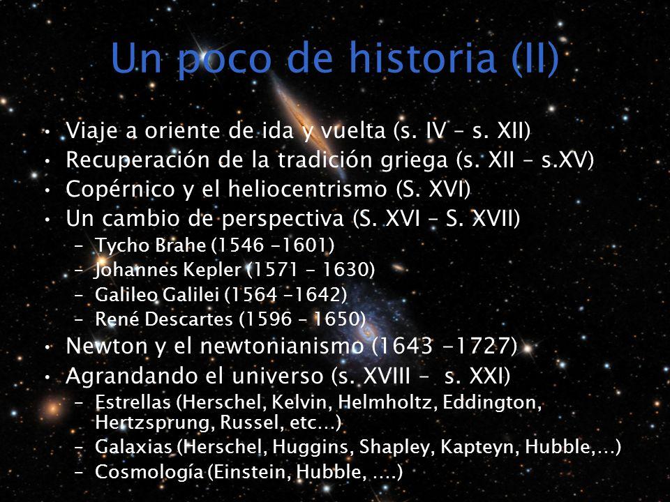 Un poco de historia (II) Viaje a oriente de ida y vuelta (s. IV – s. XII) Recuperación de la tradición griega (s. XII – s.XV) Copérnico y el heliocent