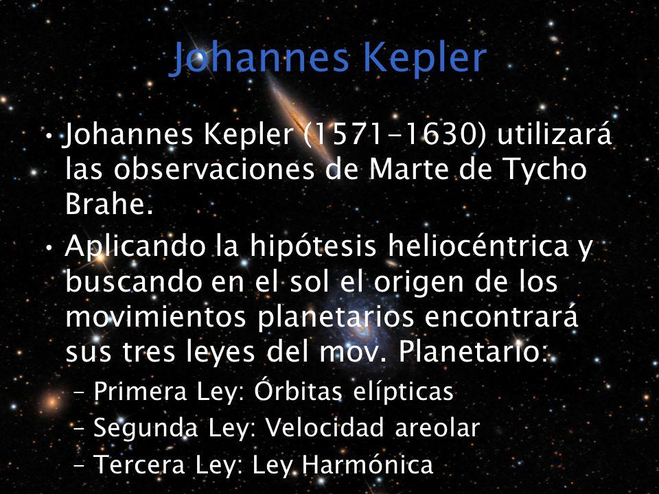 Johannes Kepler Johannes Kepler (1571-1630) utilizará las observaciones de Marte de Tycho Brahe. Aplicando la hipótesis heliocéntrica y buscando en el