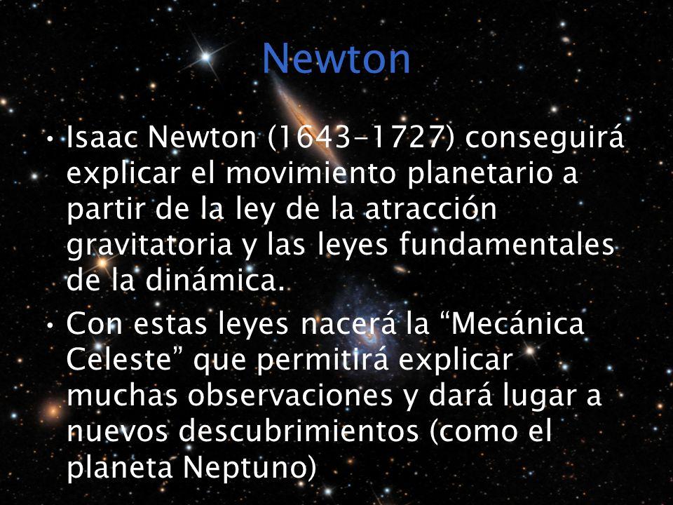 Newton Isaac Newton (1643-1727) conseguirá explicar el movimiento planetario a partir de la ley de la atracción gravitatoria y las leyes fundamentales de la dinámica.