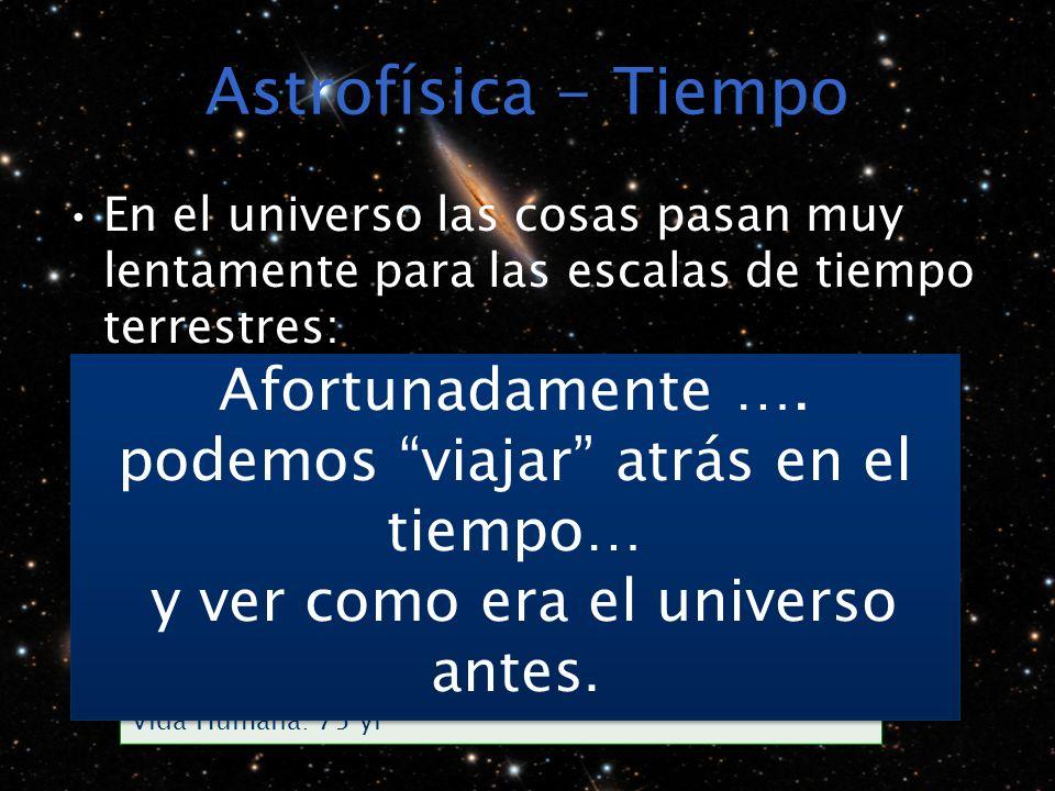Astrofísica - Tiempo En el universo las cosas pasan muy lentamente para las escalas de tiempo terrestres: Escala Humana/TerrestreEscala Astronómica Fo