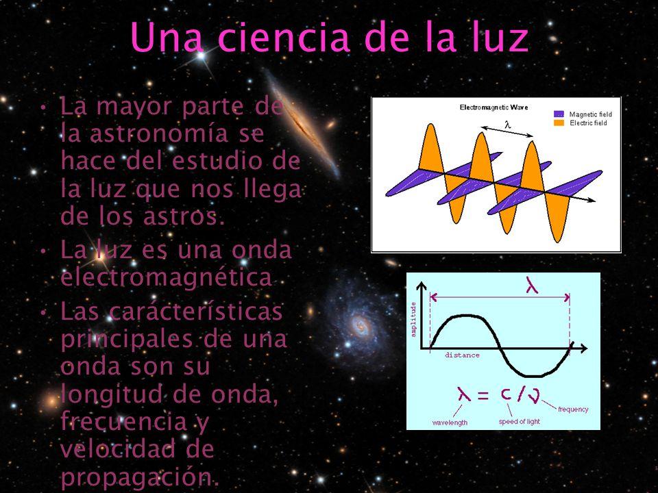Una ciencia de la luz La mayor parte de la astronomía se hace del estudio de la luz que nos llega de los astros.