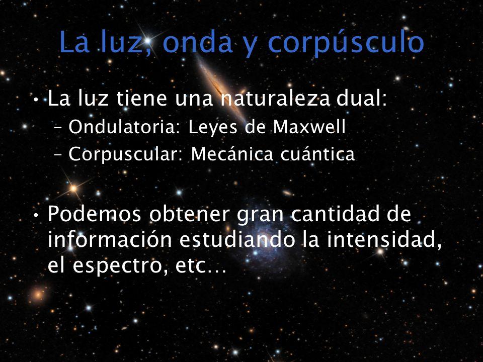 La luz, onda y corpúsculo La luz tiene una naturaleza dual: –Ondulatoria: Leyes de Maxwell –Corpuscular: Mecánica cuántica Podemos obtener gran cantidad de información estudiando la intensidad, el espectro, etc…