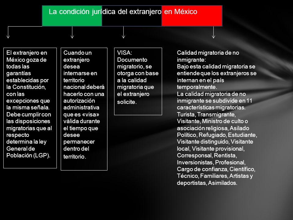 La condición jurídica del extranjero en México El extranjero en México goza de todas las garantías establecidas por la Constitución, con las excepciones que la misma señala.