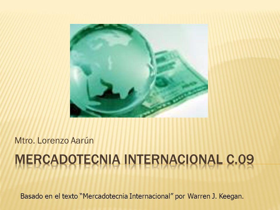 Mtro. Lorenzo Aarún Basado en el texto Mercadotecnia Internacional por Warren J. Keegan.