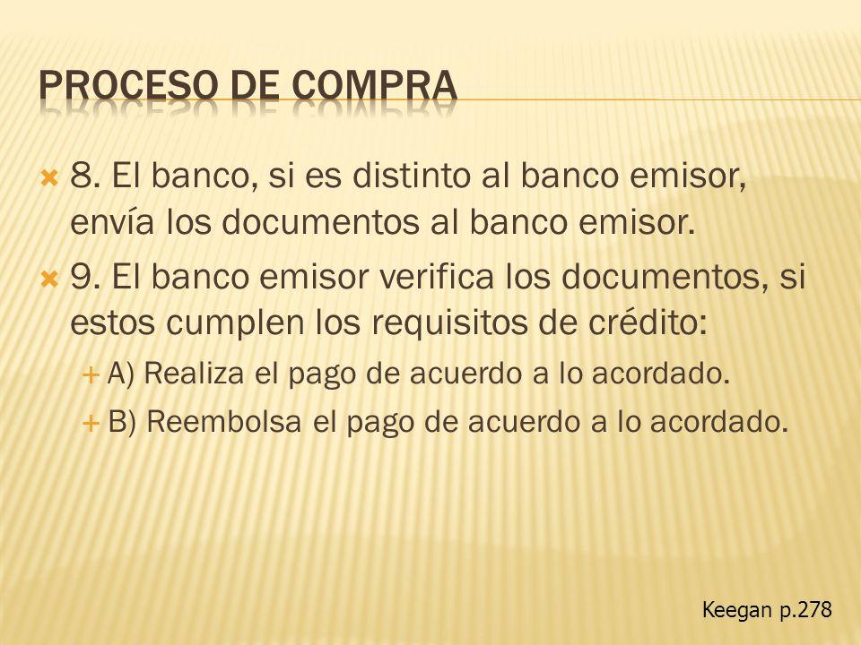 8. El banco, si es distinto al banco emisor, envía los documentos al banco emisor. 9. El banco emisor verifica los documentos, si estos cumplen los re
