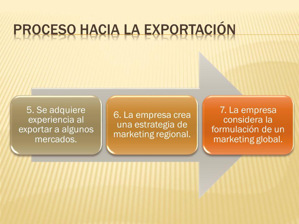 5. Se adquiere experiencia al exportar a algunos mercados. 6. La empresa crea una estrategia de marketing regional. 7. La empresa considera la formula