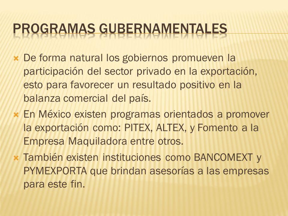 De forma natural los gobiernos promueven la participación del sector privado en la exportación, esto para favorecer un resultado positivo en la balanz