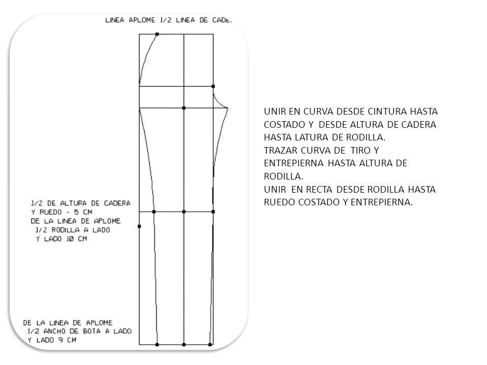 DE LA UNIO DE LINEA CENTRO FRENTE Y LINEA DE CADERA CORRER A LA IZQUIERA (1CM ) Y HALLAR LA ½ LINEA DE APLOME Y CENTRO FRENTE UNIR EN RECTA ESTOS PUNTOS Y PROLONGAR (2.5 CM) HACIA ARRIBA Y DE ESTE PUNTO MARCA ¼ DE CONTORNO DE DINTURA + (3CM) PARA PINZA + (2 CM) DE COSTURA CAYENDO SOBRE LINEA DE CINTRUA.