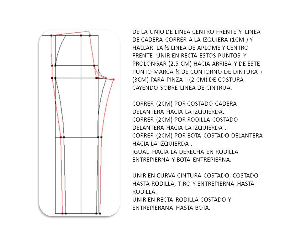 Parte Delantera Trazar en todo el ancho del papel las líneas horizontales : AB : Largo delantero ; línea de cintura D : Punto medio entre AB ; DD1 : Línea de pecho E : Punto medio entre AD; EE1 Línea de anchura de espalda BC : Altura de caderas ; línea de caderas AY : 1/6 perímetro de cuello + 2 cm, unir FA con una curva FF : Largo de espalda + 1/2 cm F G : 3, 5 cm, unir FG con una línea oblicua EE : 1/2 ancho de espalda parte delantera + 1 cm DD : 1/4 de la medida del busto + 2 a 4 cm (según la anchura deseada) CC : 1/4 del ancho de caderas + 2 a 4 cm (según el ancho deseado) Unir G-E -D con una curva D C con una linea recta