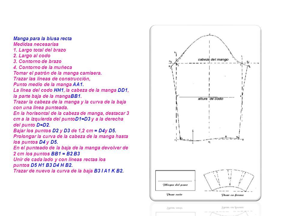 Cuello camisero Medidas necesarias : contorno de cuello Trazar un rectángulo ABCD AB = 7 cm AC, BD = 1/2 contorno de cuello Subir B de 1,5 cm E unir ED con una curva.