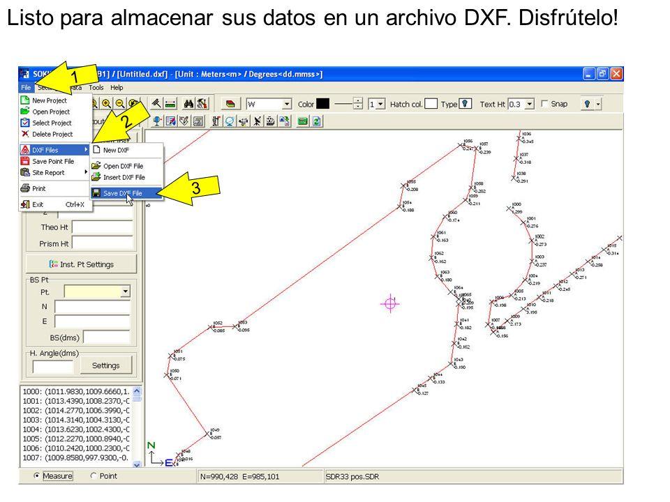 3 Listo para almacenar sus datos en un archivo DXF. Disfrútelo! 1 2