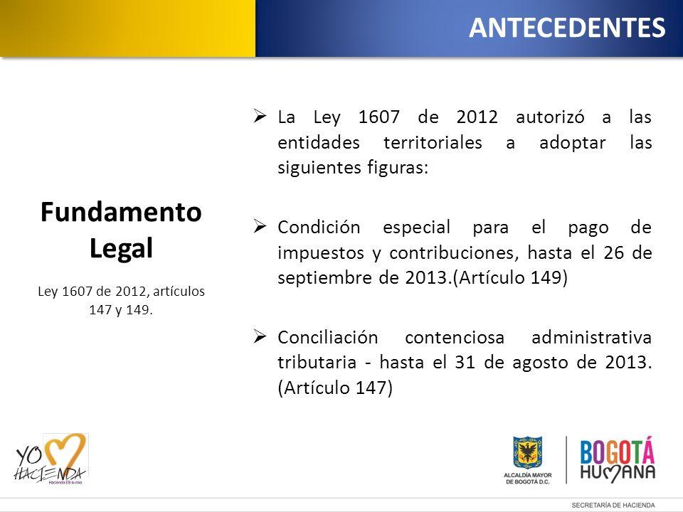 La Ley 1607 de 2012 autorizó a las entidades territoriales a adoptar las siguientes figuras: Condición especial para el pago de impuestos y contribuciones, hasta el 26 de septiembre de 2013.(Artículo 149) Conciliación contenciosa administrativa tributaria - hasta el 31 de agosto de 2013.