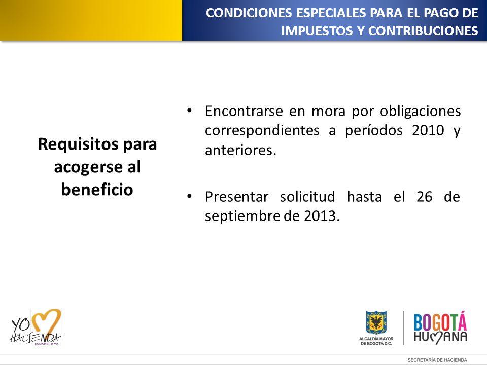 Encontrarse en mora por obligaciones correspondientes a períodos 2010 y anteriores.