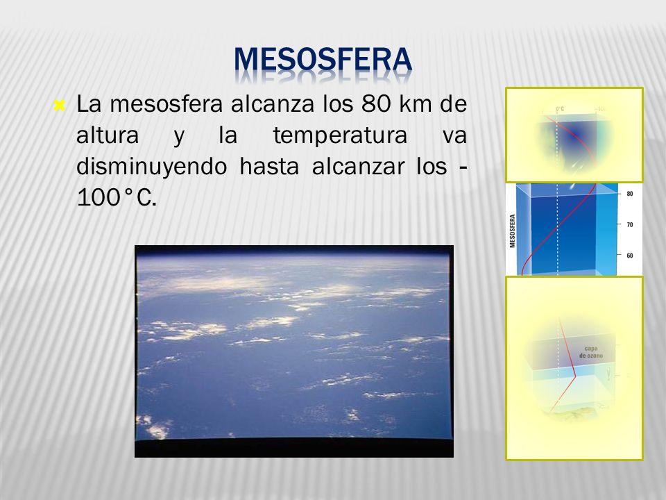 La mesosfera alcanza los 80 km de altura y la temperatura va disminuyendo hasta alcanzar los - 100°C.
