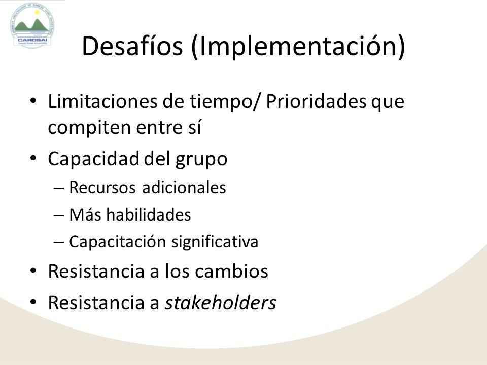 Desafíos (Implementación) Limitaciones de tiempo/ Prioridades que compiten entre sí Capacidad del grupo – Recursos adicionales – Más habilidades – Cap