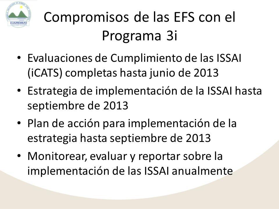 Compromisos de las EFS con el Programa 3i Evaluaciones de Cumplimiento de las ISSAI (iCATS) completas hasta junio de 2013 Estrategia de implementación