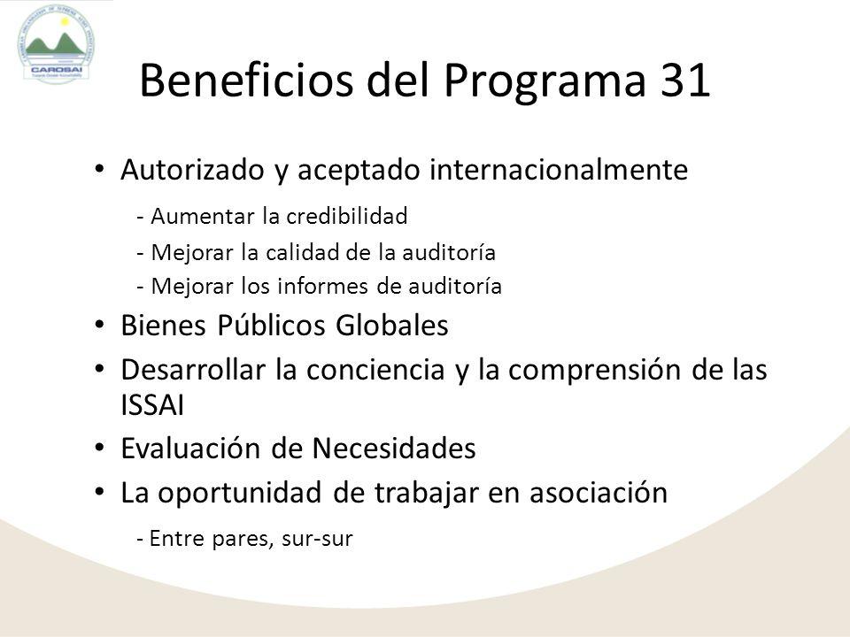 Beneficios del Programa 31 Autorizado y aceptado internacionalmente - Aumentar la credibilidad - Mejorar la calidad de la auditoría - Mejorar los info