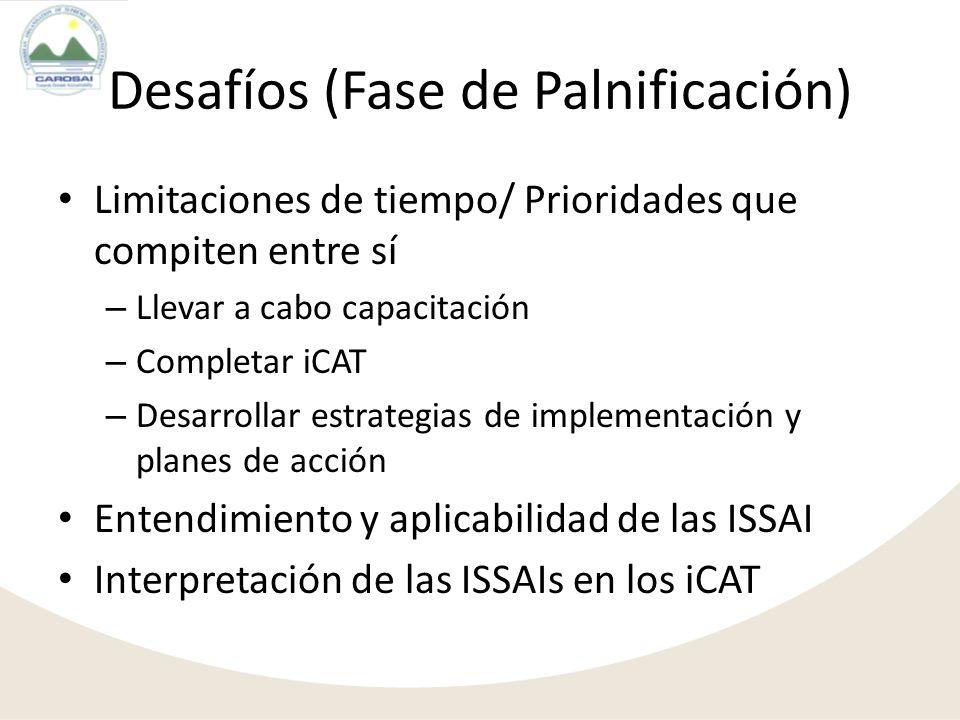 Limitaciones de tiempo/ Prioridades que compiten entre sí – Llevar a cabo capacitación – Completar iCAT – Desarrollar estrategias de implementación y