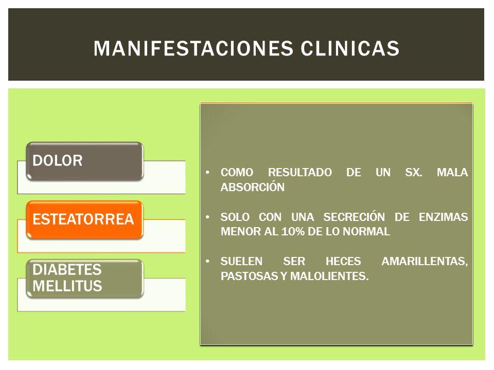 DOLORESTEATORREA DIABETES MELLITUS MANIFESTACIONES CLINICAS La pancreatitis alcohólica crónica se presenta en la cuarta o quinta décadas de la vida y