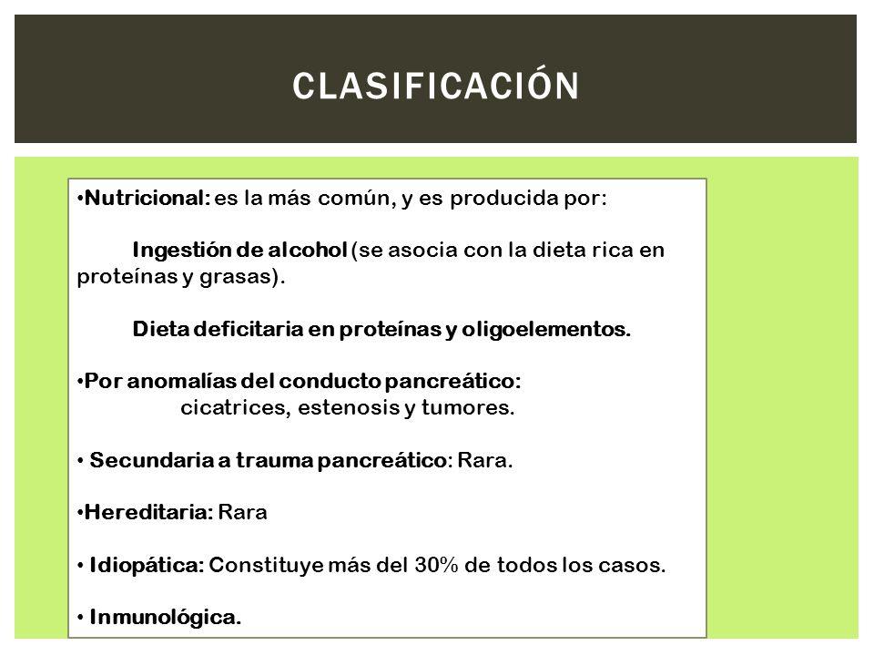 Nutricional: es la más común, y es producida por: Ingestión de alcohol (se asocia con la dieta rica en proteínas y grasas). Dieta deficitaria en prote